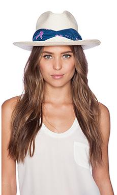 Artesano Clasico Hat in Natural & Blue Print