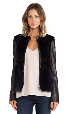 ashley B Fur Vest Jacket in Navy Multi