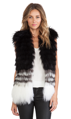 ashley B Fur Vest in Black to Ivory
