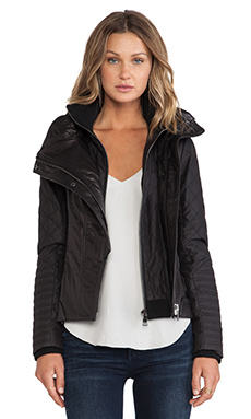 ashley B Leather Moto Jacket in Black