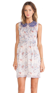 Anna Sui Floral Melody Mixed Prints Tank Dress in Lavender Multi