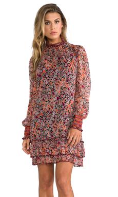 Anna Sui Pop Squares Printe Mesh and Mosaic Flora Print Crinkle Chiffon Long Sleeve Dress in Merlot