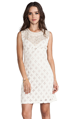 Anna Sui RUNWAY Lace With Diamond Beading Tank Dress in Cream/Gold