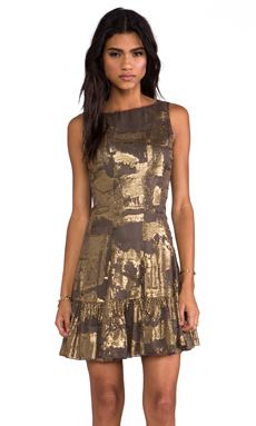 Anna Sui Klimt Print Tank Dress in Gold Multi