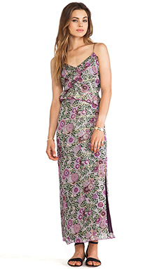 Anna Sui Sunflowers Print Maxi Dress in Lavender Multi