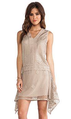 Anna Sui Wild Rose Crochet Lace Dress in Linen