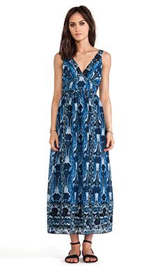 Anna Sui Zig Zag Bouquet Print Maxi Dress in Indigo