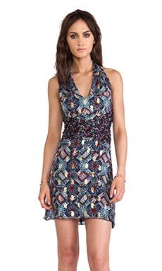 Anna Sui Warp Print Wrap Around Dress in Aubergine Multi