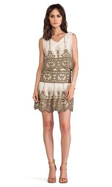 Anna Sui Secret Garden Embroidery Dress in Sand Multi