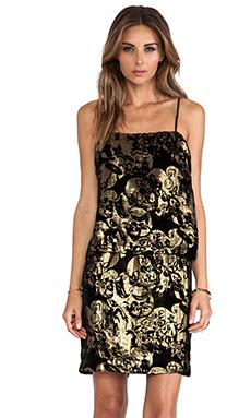 Anna Sui Village Burnout Mini Dress in Black Multi