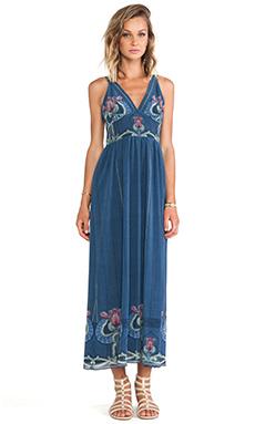 Anna Sui Serpentine Border Print Maxi Dress in Slate Blue