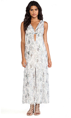 Anna Sui Iris Print Maxi Dress in Sky Multi