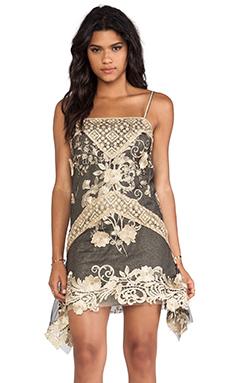 Anna Sui Maiden Faire Lace Tank Dress in Black Multi