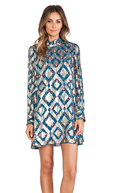 Anna Sui Aztec Foulard Print Mini Dress in King Fisher Multi