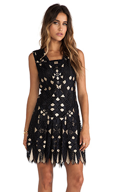 Anna Sui Diamond Lace Dress in Black Multi