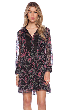 Anna Sui Rococco Pavillions Print Shirt Dress in Black Multi