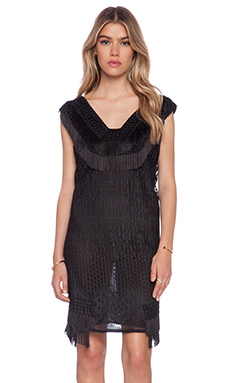Anna Sui Crochet Lace Dress in Black