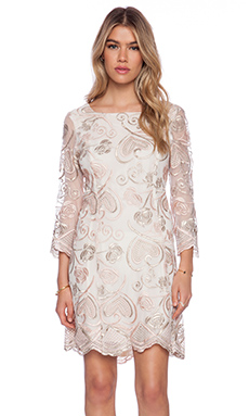 Anna Sui Deco Embroidered Mesh Mini Dress in Blush Multi