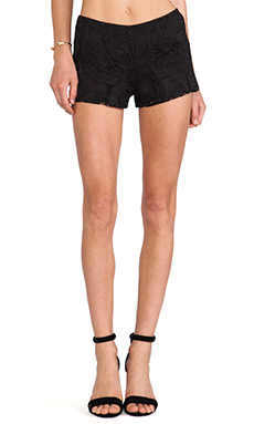 Anna Sui Gold Leaf Lace Shorts in Black
