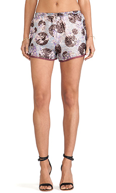 Anna Sui Moonlight Floral Print Shorts in Sky Multi