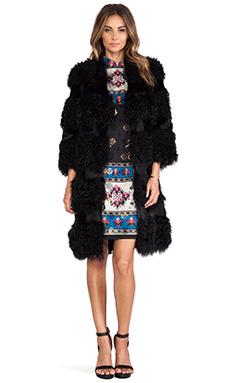 Anna Sui Kalgan Long Fur Jacket in Black
