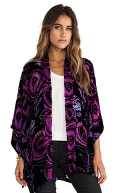 Anna Sui Peony Print Burnout Velvet Kimono in Aster Multi