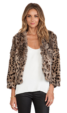 Anna Sui Rabbit Fur Jacket in Leopard