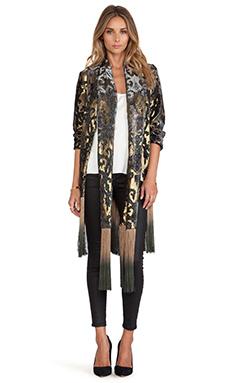 Anna Sui Shangri La Burnout Velvet Kimono en Black Multi
