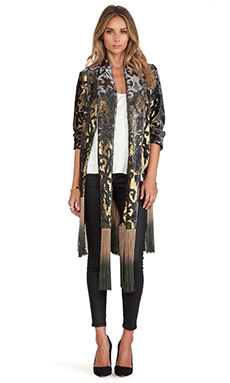 Anna Sui Shangri La Burnout Velvet Kimono in Black Multi