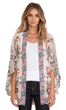 Anna Sui Prince of Pagodas Print Kimono in Antique Multi
