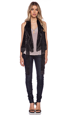 Anna Sui Crochet Lace Vest in Black