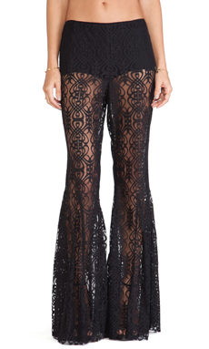Anna Sui Birds Print Flare Pants in Black Multi