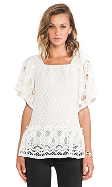 Anna Sui Ophelia Lace Top in Cream