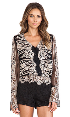 Anna Sui Two Tone Eyelash Lace Top in Black