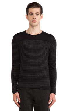 ATM Anthony Thomas Melillo Striped Slub Sweater in Black & Grey