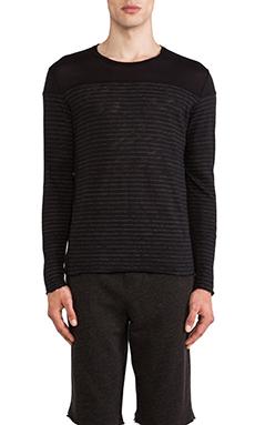 ATM Anthony Thomas Melillo Striped Slub Sweater in Black & Grey