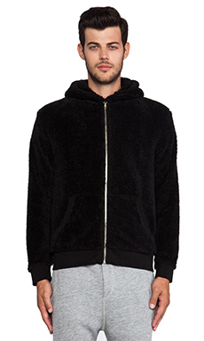 ATM Anthony Thomas Melillo Faux Sherpa Hoodie in Black