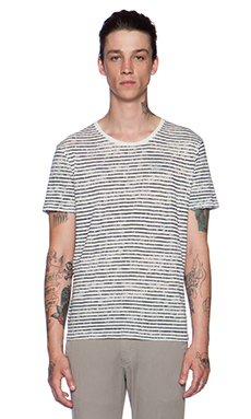 ATM Anthony Thomas Melillo Printed Stripe Tee in Chalk Ground & Navy