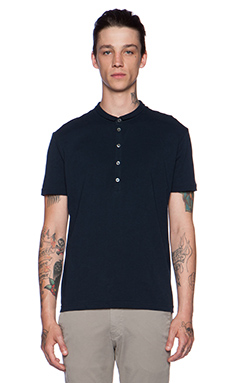 ATM Anthony Thomas Melillo Half Collar Polo in Navy