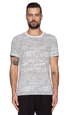 ATM Anthony Thomas Melillo Classic Crew w/ Broken Stripe in White& Black