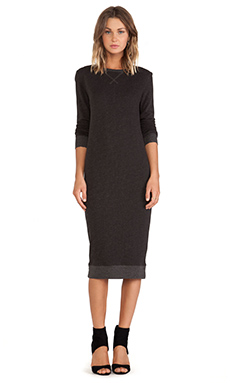 ATM Anthony Thomas Melillo Sweatshirt Long Dress in Charcoal Heather