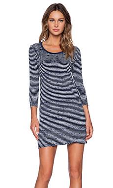 ATM Anthony Thomas Melillo 3/4 Sleeve Printed Stripe Dress in Navy & Chalk Stripe