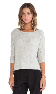 ATM Anthony Thomas Melillo Boatneck Raw Edge Sweater in Stone