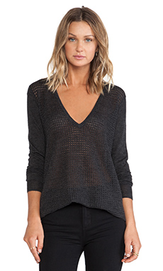 ATM Anthony Thomas Melillo Deep V Mesh Sweater in Charcoal