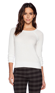 ATM Anthony Thomas Melillo Popcorn Cropped Sweater in Snow