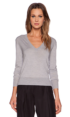 ATM Anthony Thomas Melillo Cropped Deep V Neck Sweater in Heather Grey