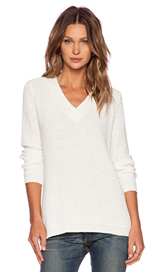 ATM Anthony Thomas Melillo Oversized Deep V Sweater in Chalk