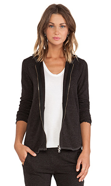 ATM Anthony Thomas Melillo Zip Front Hoodie in Charcoal Heather