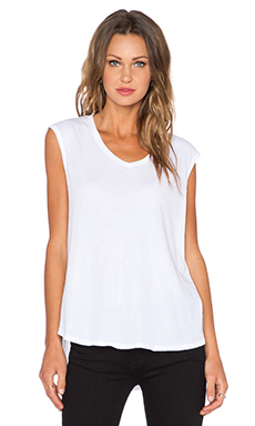 ATM Anthony Thomas Melillo Vintage Jersey Deep V Tank Top in White