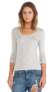 ATM Anthony Thomas Melillo Sweetheart Long Sleeve Tee in Heather Grey